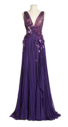 J-Mendel-Pleated-Silk-Chiffon-Gown-with-Floral-Details-268x500