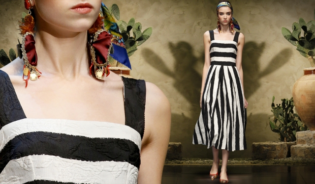 02-dolce-and-gabbana-womenswear-ss-2013-sicilian-folk-collection-black-and-white-stripes-striped-brocade-midi-dress