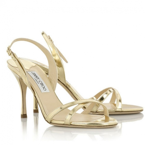 Jimmy Choo India Mirrored Leather Sandals Gold