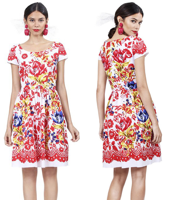 Oscar-de-la-Renta-Short-Sleeve-Floral-Printed-Dress