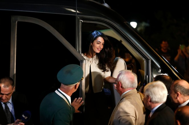 Human rights lawyer Amal Alamuddin Clooney arrives at a hotel in Athens