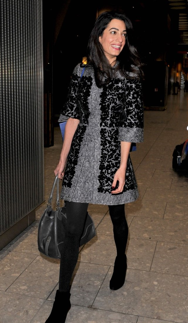 Amal Clooney Spotted Arriving At Heathrow Airport In Dolce
