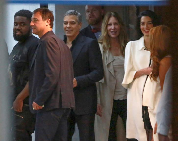 *EXCLUSIVE* George Clooney and Amal Alamuddin night out with friends at SoHo House