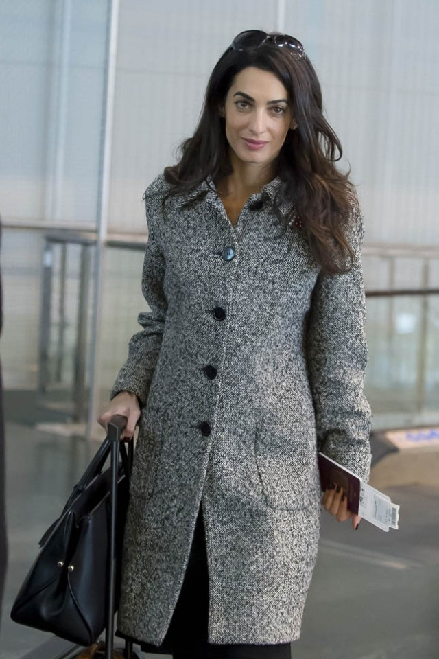 EXCLUSIVE: Amal Alamuddin Clooney seen at EuroAirport Basel-Mulhouse-Freiburg