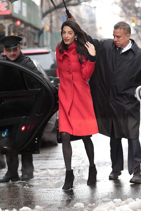Amal Clooney – Lady in Red – Spotted in Manhattan in Paule Ka ...