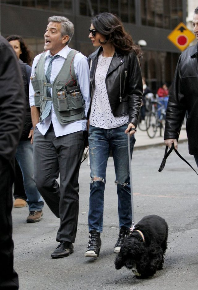 Amal-Alamuddin-Visits-George-Clooney-Set-His-Dog (6)
