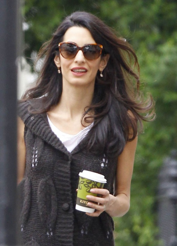 Exclusive... 51741489 British barrister and socialite Amal Alamuddin grabs a coffee to go in London, England on May 15, 2015. Amal is in town to support husband George Clooney in his London premiere of