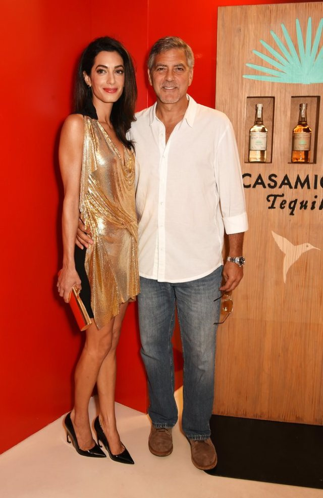 Amal-Clooney-Wearing-Gold-Minidress