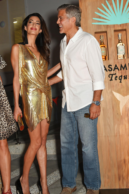 gold dress   Amal Clooney Style