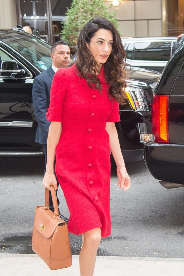 Amal-Clooney-Wearing-Red-Dolce-Gabbana-Dress