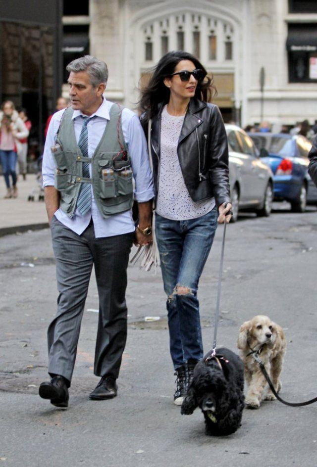 Amal-Alamuddin-Visits-George-Clooney-Set-His-Dog