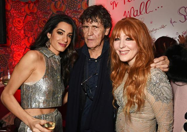 LONDON, ENGLAND - DECEMBER 03: (L to R) Amal Clooney, Lance Tilbury and Charlotte Tilbury attend Charlotte Tilbury's naughty Christmas party celebrating the launch of Charlotte's new flagship beauty boutique in Covent Garden on December 3, 2015 in London, England. (Photo by David M. Benett/Dave Benett/Getty Images for Charlotte Tilbury)