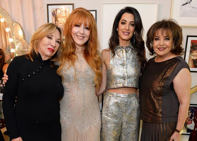 LONDON, ENGLAND - DECEMBER 03: (L to R) Patsy Tilbury, Charlotte Tilbury, Amal Clooney and mother Baria Alamuddin attend Charlotte Tilbury's naughty Christmas party celebrating the launch of Charlotte's new flagship beauty boutique in Covent Garden on December 3, 2015 in London, England. (Photo by David M. Benett/Dave Benett/Getty Images for Charlotte Tilbury)