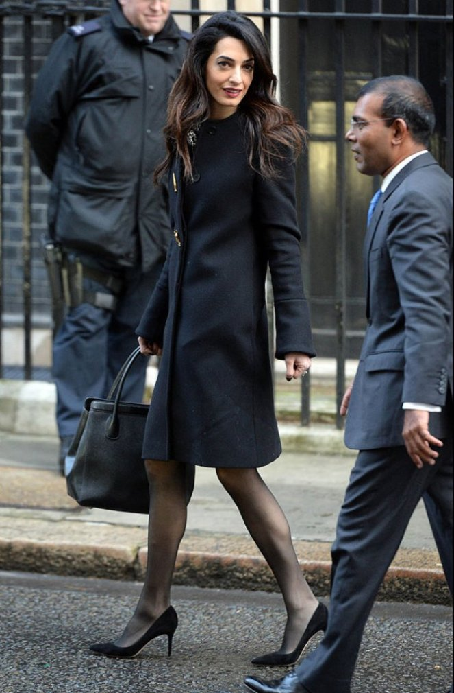 Amal Clooney and ex-president of the Maldives in Downing St