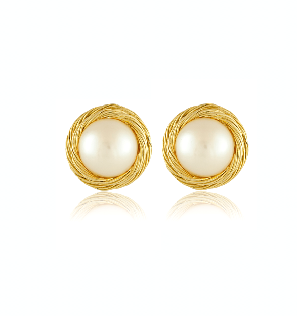 vintage jewelry_vintage givenchy pearl and twisted gold earrings_main