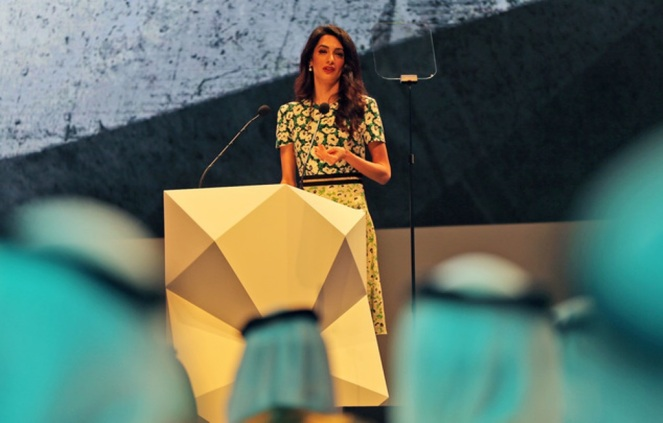 Amal Alamuddin Clooney, writer, human rights activist, talks during the opening ceremony of the International Government Communications Forum in Sharjah, United Arab Emirates, Sunday, March 20, 2016. (AP Photo/Kamran Jebreili)