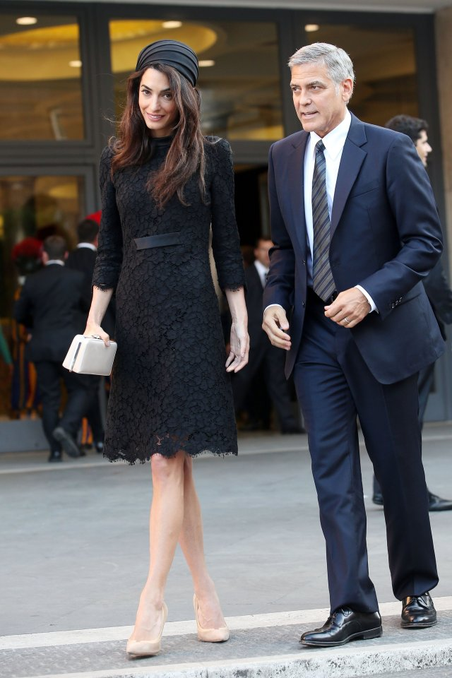 Amal-Clooney-Black-Lace-Dress-Seminary-Pope-Francis (2)