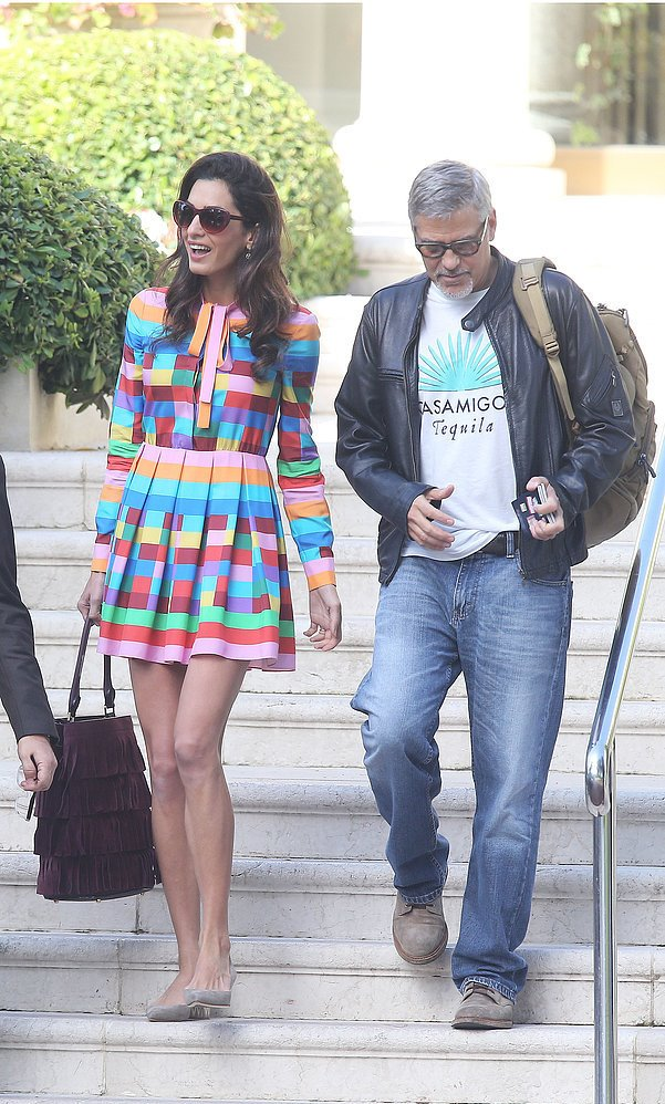 Amal Valentino rainbow dress 3