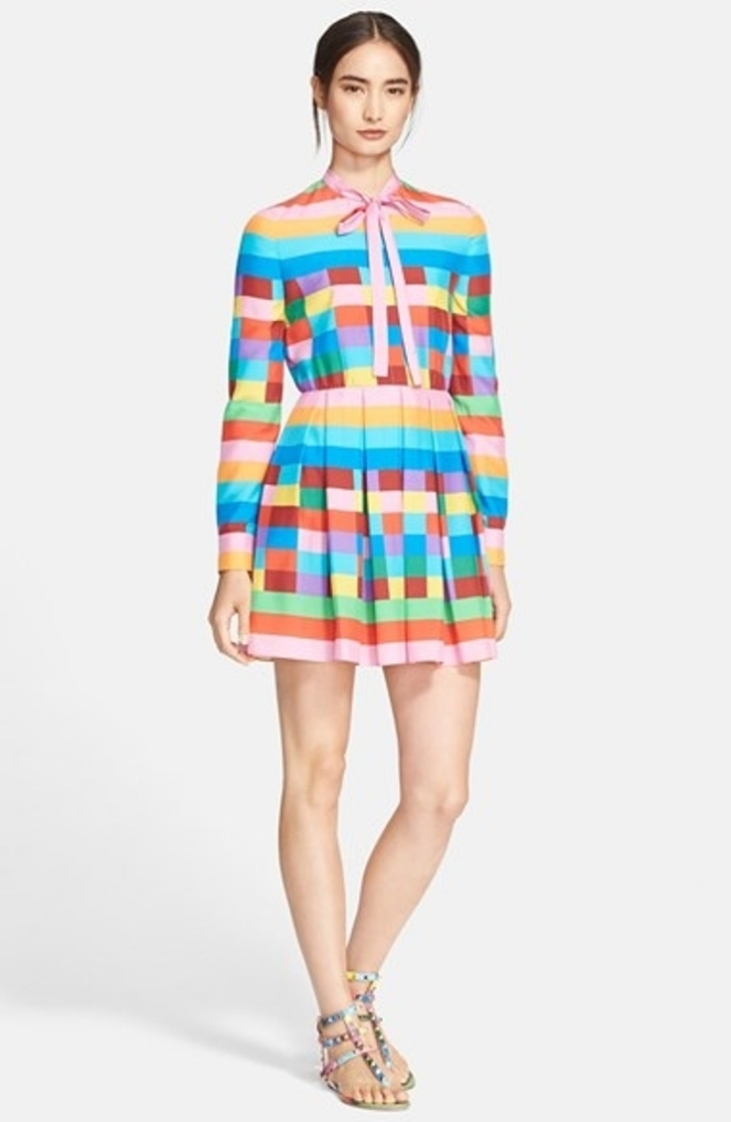 valentino-1973-rainbow-grid-silk-dress-resort-2015-collection