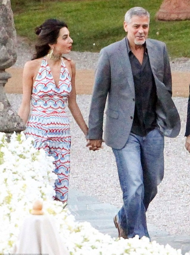 Amal Clooney Spotted In A Valentino Dress At The Villa D