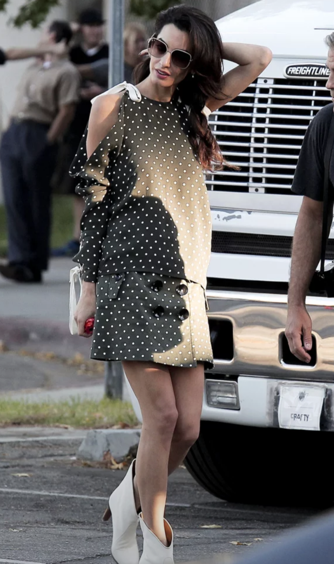 Amal Clooney In Monse On The Set Of Suburbicon 04.10.2016