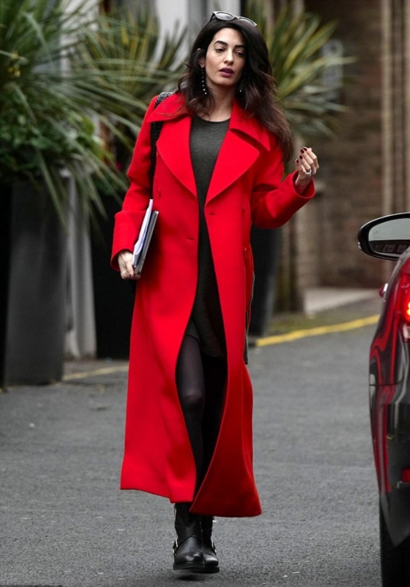 red coat | Amal Clooney Style