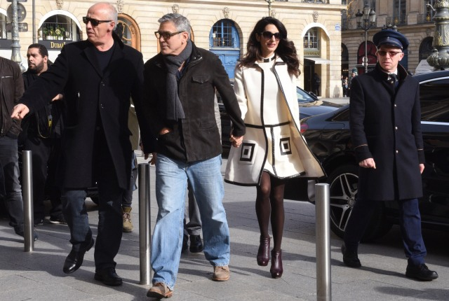 George and Amal Clooney seen leaving their hotel in Paris, France. 25/02/2017